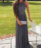 Silver Grey Prom Dress, Prom Dresses, Evening Gown, Graduation School Party Dress, Winter Formal Dress, DT0098