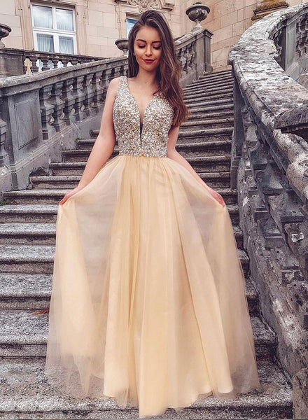 Affordable Prom Dresses Beaded Top, Formal Dress, Evening Dress, Dance Dresses, Graduation School Party Gown, DT0721