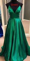 Green Prom Dress V Necline, Pageant Dress, Evening Dress, Dance Dresses, Graduation School Party Gown, DT0612