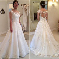 Wholesale Lace Wedding Dress Cap Sleeves, Bridal Gown ,Dresses For Brides, PM0003