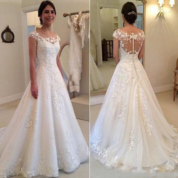 4ffa7b6a32b18 Wholesale Lace Wedding Dress Cap Sleeves, Bridal Gown ,Dresses For Brides,  PM0003