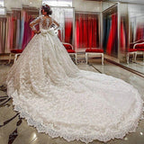 Princess Lace Wedding Dress Long Sleeves, Bridal Gown ,Dresses For Brides, PM0010