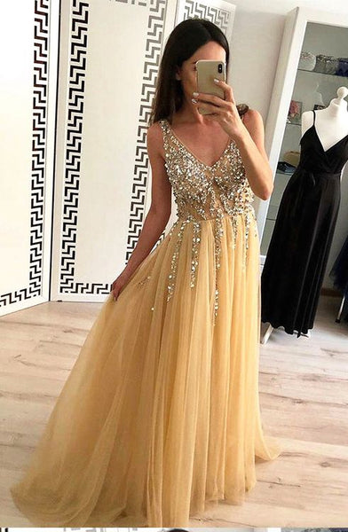 Gold Color Prom Dress Backless, Dresses For Graduation Party, Evening Dress, Formal Dress, DT0465