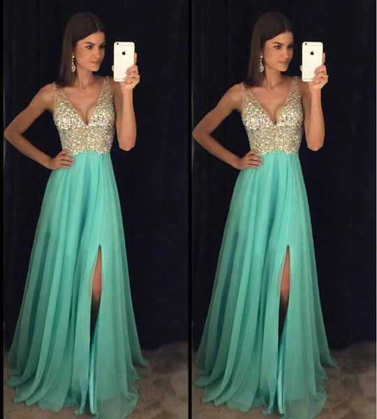 Sexy Prom Dress Slit Skirt, Prom Dresses, Evening Gown, Graduation School Party Dress, Winter Formal Dress, DT0103