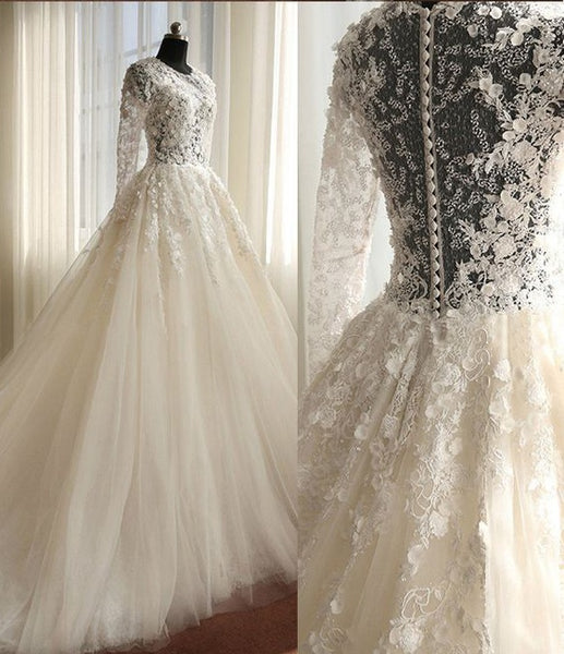 New Style Wedding Dress Long Sleeves, Bride Dress, Bridal Gown ,Dresses For Brides, PM0067