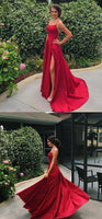 Long Prom Dress Slit Skirt , Dance Dresses, Graduation School Party Gown, DT0230
