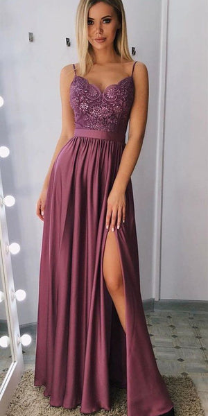 Long Prom Dress With Slit, Dresses For Graduation Party, Evening Dress, Formal Dress, DT0491