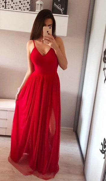 Sexy Prom Dress Deep with Slit, Pageant Dress, Evening Dress, Dance Dresses, Graduation School Party Gown, DT0587