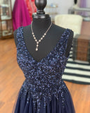 Navy Prom Dress Long, Dresses For Graduation Party, Evening Dress, Formal Dress, DT0477