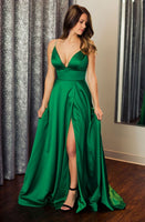 Sexy Green Prom Dress V Neckline, Evening Dress, Formal Dresses, Graduation School Party Dance Dress, DT0366