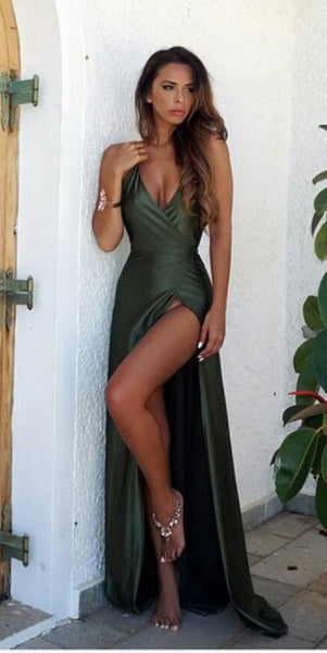 Sexy Green Backless Prom Dress Long High Slit, Prom Dresses For Teens, DT0414