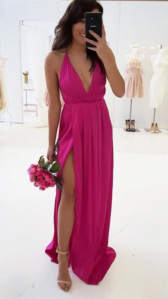 Sexy Prom Dress Slit Skirt, Evening Dress, Dance Dresses, Graduation School Party Gown, DT0328