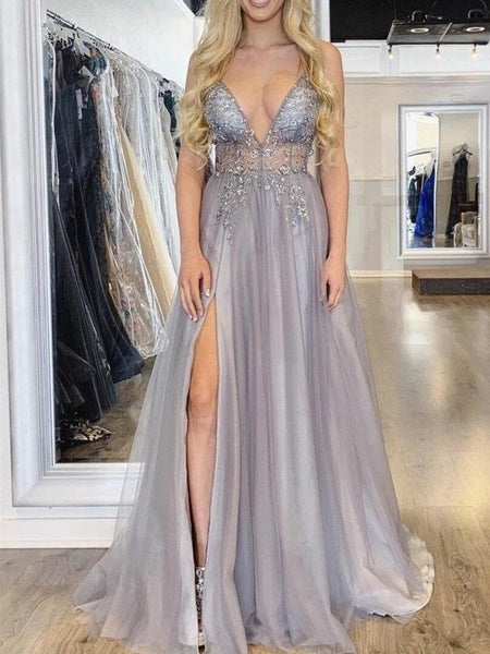 Simple Prom Dress with Slit, Pageant Dress, Evening Dress, Dance Dresses, Graduation School Party Gown, DT0610