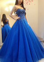 Blue Prom Dress, Prom Dresses, Pageant Dress, Evening Dress, Ball Dance Dresses, Graduation School Party Gown, DT0637