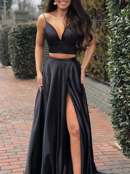 Two Pieces Prom Dress Black, Pageant Dress, Evening Dress, Dance Dresses, Graduation School Party Gown, DT0608