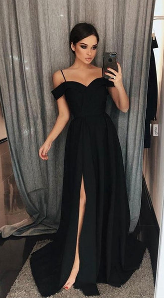 Black Prom Dress Slit Skirt, Prom Dresses, Pageant Dress, Evening Dress, Ball Dance Dresses, Graduation School Party Gown, DT0685
