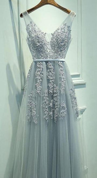 V-neck A-line Appliqued Prom Dress Long, Evening Dress, Dance Dresses, Graduation School Party Gown, DT0320