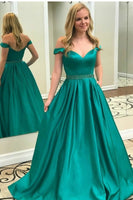Green Prom Dress Off The shoulder Straps, Prom Dresses, Pageant Dress, Evening Dress, Ball Dance Dresses, Graduation School Party Gown, DT0686