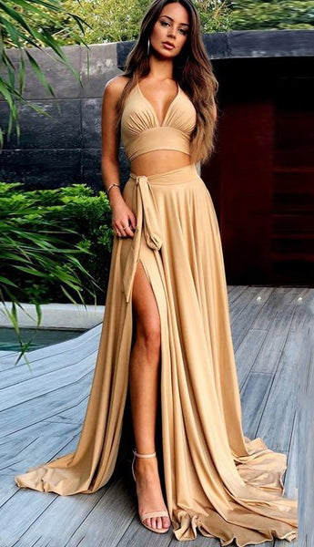 Sexy Two Pieces Prom Dress with Slit, Bridesmaid Dresses, Pageant Dress, Evening Dress, Ball Dance Dresses, Graduation School Party Gown, DT0644