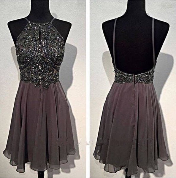 Short Prom Dress Silver Grey Color, Homecoming Dresses, Graduation School Party Gown, Winter Formal Dress, DT0162