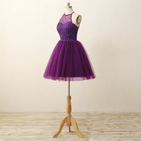 Short Purple Prom Dress, Homecoming Dresses, Graduation School Party Gown, Winter Formal Dress, DT0250