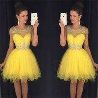 Short Yellow Prom Dress, Homecoming Dresses, Graduation School Party Gown, Winter Formal Dress, DT0251