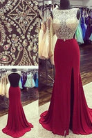 Prom Dress Slit Skirt, Evening Gown, Graduation School Party Dress, Winter Formal Dress, DT0140