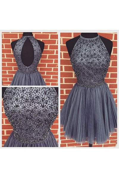 Short Prom Dress Silver Grey Color, Homecoming Dresses, Graduation School Party Gown, Winter Formal Dress, DT0161