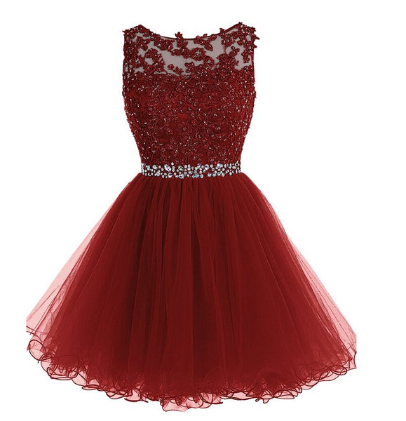 Burgundy Homecoming Dress, Short Prom Dress ,Back To School Party Dress, Evening Dress, Formal Dress, DTH0036