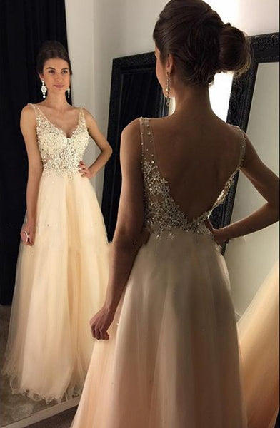 Champagne Prom Dress For Teens, Prom Dresses, Evening Gown, Graduation School Party Gown, Winter Formal Dress, DT0193