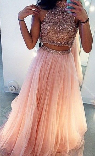 Two Pieces Prom Dress For Teens, Prom Dresses, Evening Gown, Graduation School Party Gown, Winter Formal Dress, DT0197