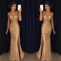 Golden Prom Dress For Teens Slit Skirt, Prom Dresses, Evening Gown, Graduation School Party Gown, Winter Formal Dress, DT0199