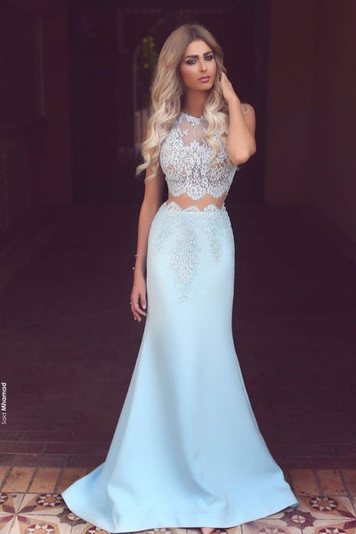 Two Pieces Prom Dress For Teens Light Blue, Prom Dresses, Graduation School Party Gown, DT0213