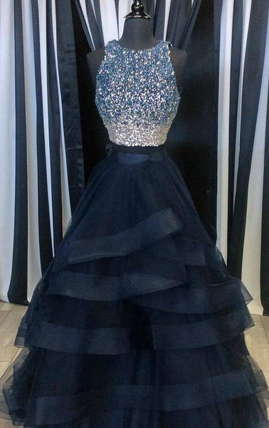 Two Pieces Navy Prom Dress Halter Neckline, Evening Dress, Formal Dresses, Graduation School Party Dance Dress, DT0393