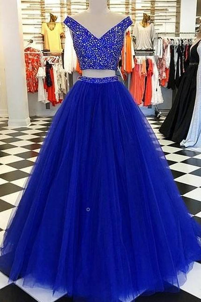 Royal Blue Prom Dress Two Pieces Style, Dresses For Graduation Party, Evening Dress, Formal Dress, DT0462