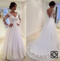 Wedding Dress with Long Sleeves, Bridal Gown ,Dresses For Brides, DT0348