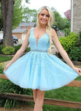 Light Blue Lace Homecoming Dress, Short Prom Dress ,Back To School Party Dress, Evening Dress, Formal Dress, DTH0050