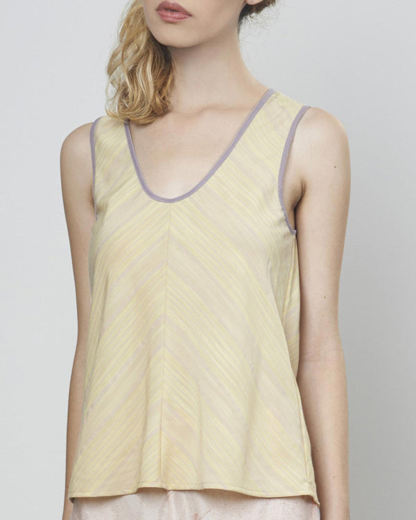 Luxe Tencel V-Stripe Tank in Teal or Yellow (XS-L) - Uye Surana