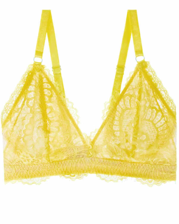 Stevie II Eyelash Lace Wireless Bra in Citron - Uye Surana