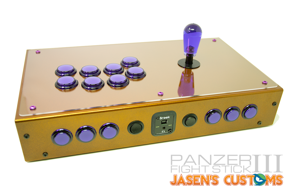 Fully Built: Panzer Fight Stick 3i [Orange Metal Flake Case]-Jasen's Customs