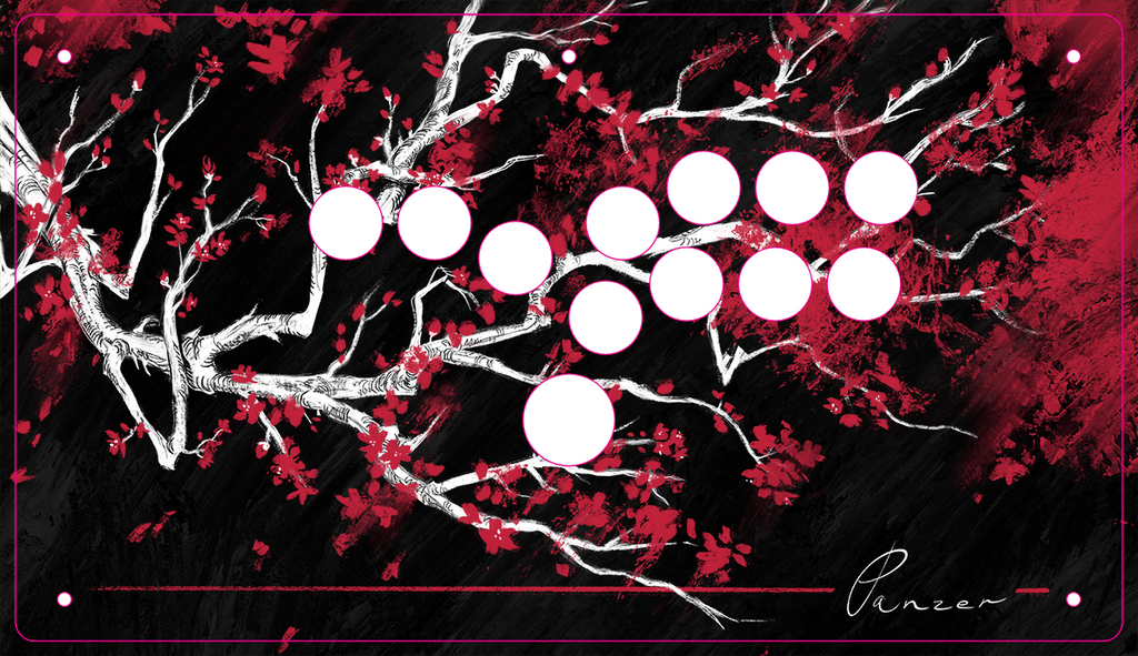 Panzer Fight Stick Printed Plexi Overlay - Sakura by MaddestMao-Jasen's Customs - Print Shop-Hitbox (3/Aluminium)-Jasen's Customs