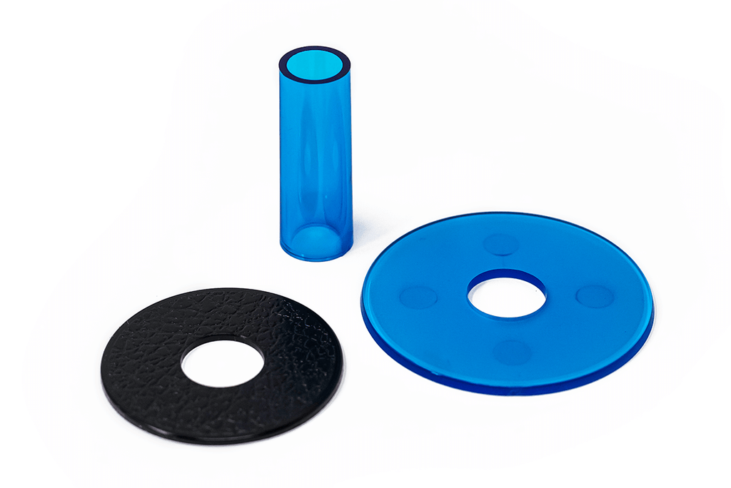 Sanwa JLF Clear Shaft Cover and Dustwasher Kit-Jasen's Customs-Blue-Jasen's Customs