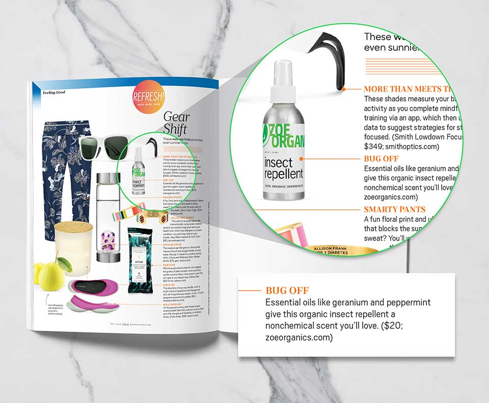 Oprah Magazine May 2018: Zoe Organics Insect Repellent