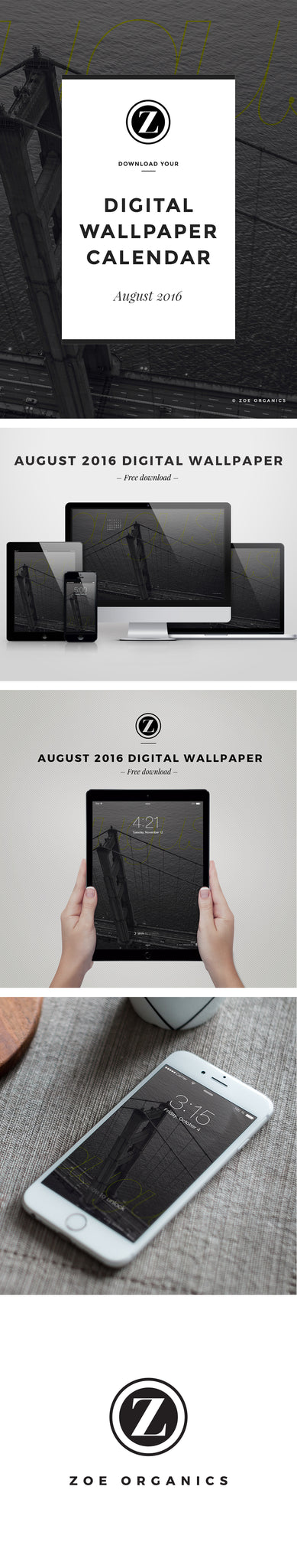 Zoe Organics Digital Wallpaper  |  Free Download  |  August 2016
