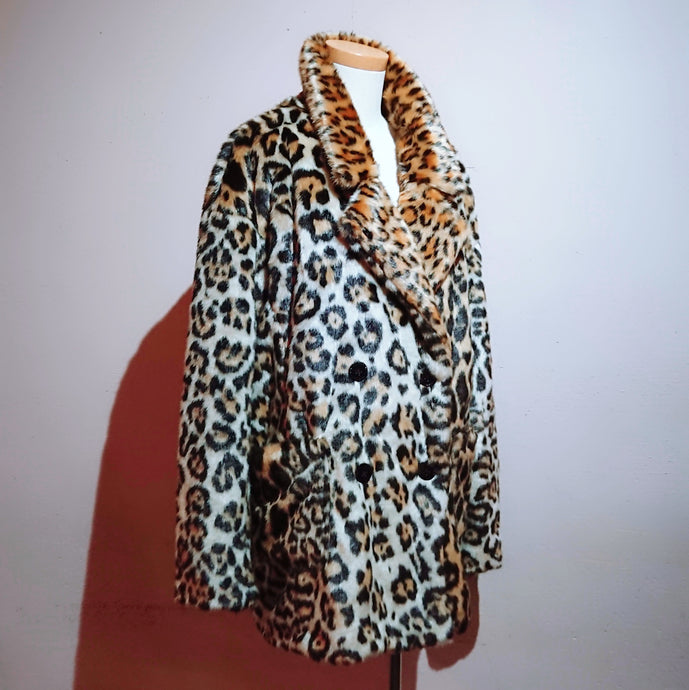 Leopard print faux fur coat - boutique HANAYA