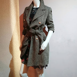 Double-Breasted Herringbone Trench Coat - boutique-hanaya