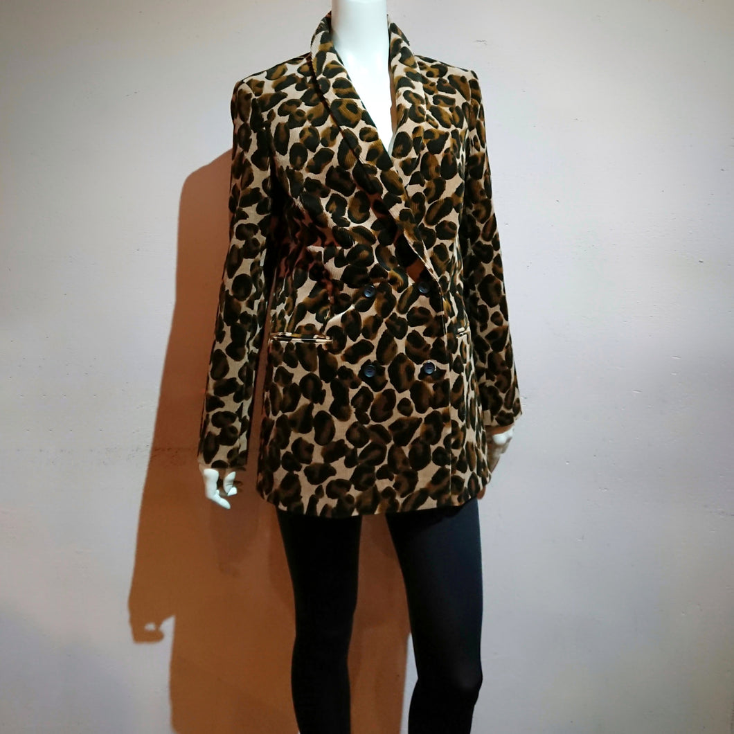 Corduroy Leopard Double-breasted Jacket