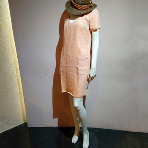 V-neck Linen Dress - boutique HANAYA