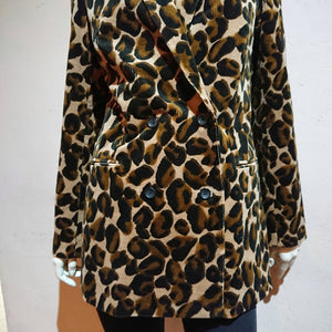 Corduroy Leopard Double-breasted Jacket - boutique HANAYA