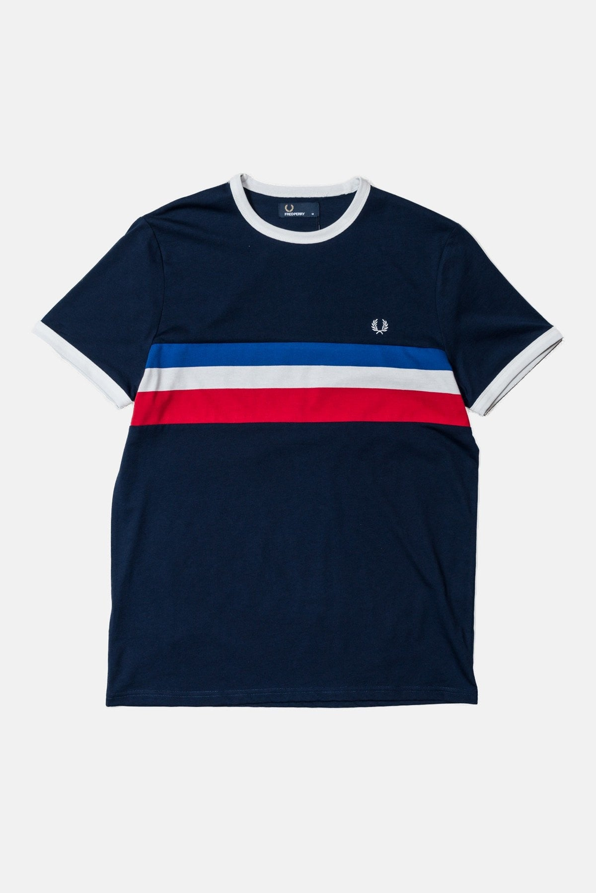 fred perry striped panel ringer t shirt carbon blue. Black Bedroom Furniture Sets. Home Design Ideas